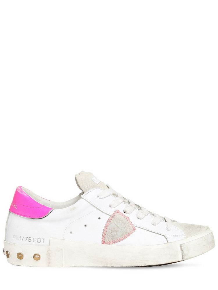 PHILIPPE MODEL Paris Studded Leather & Suede Sneakers in fuchsia / white
