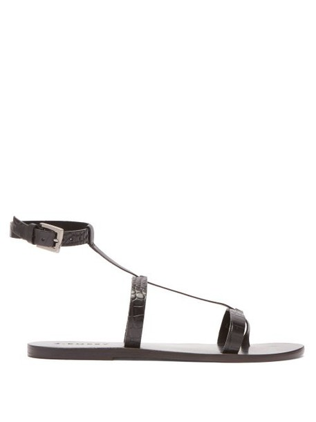 A.emery - Francis Crocodile Effect Leather Sandals - Womens - Black