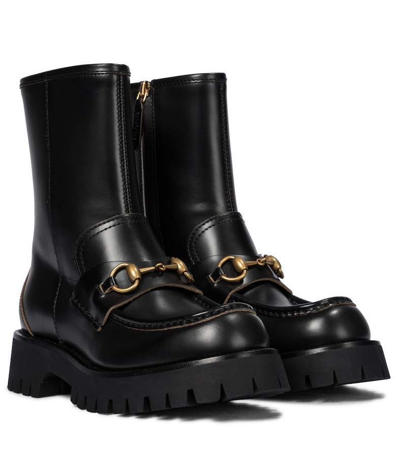 Gucci Horsebit leather ankle boots in black