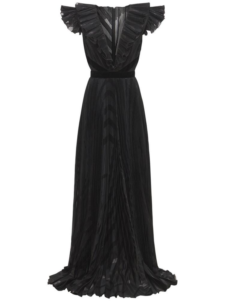 ZUHAIR MURAD Pleated Deep V Neck Long Dress in black