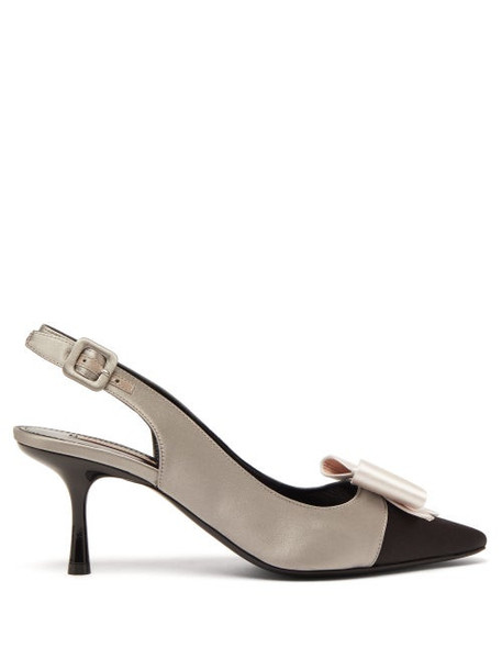 Fabrizio Viti - Gabor Bow Embellished Satin Slingback Pumps - Womens - Black Grey