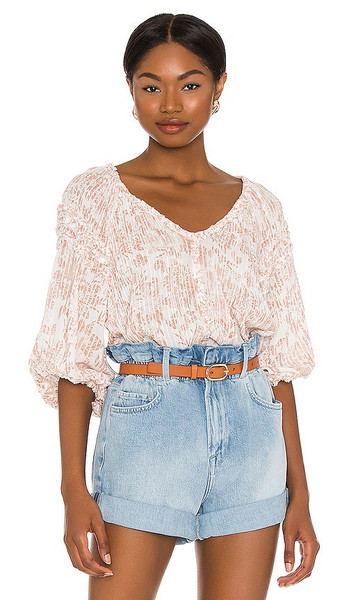 Poupette St Barth India Blouse in Nude in natural
