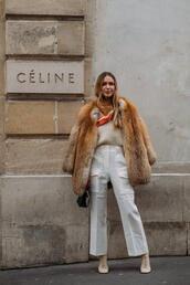 le fashion,blogger,blouse,pants,shoes,coat,fur coat,winter outfits,white pants