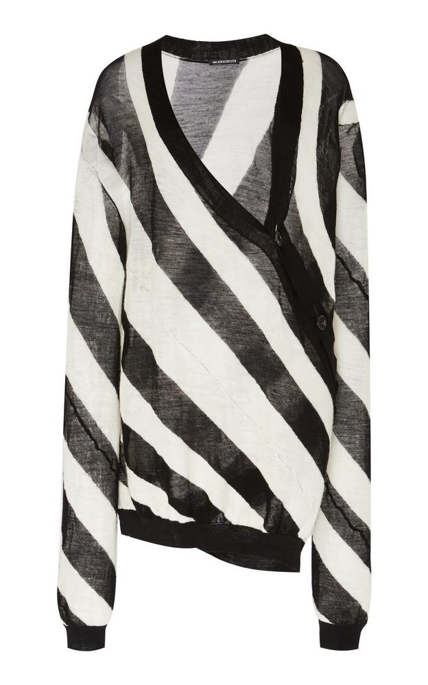 Ann Demeulemeester Asymmetrical Striped Wool-Knit Cardigan in black