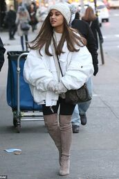 shoes,ariana grande,celebrity,streetstyle,puffer jacket