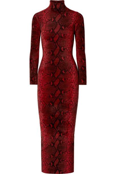 Alexander Wang - Snake-print Chenille Turtleneck Midi Dress - Red