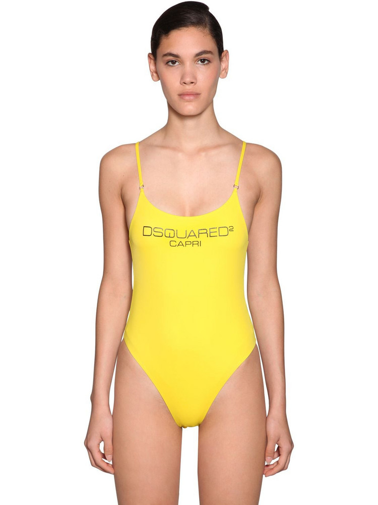 DSQUARED2 Printed Lycra One Piece Swimsuit in yellow