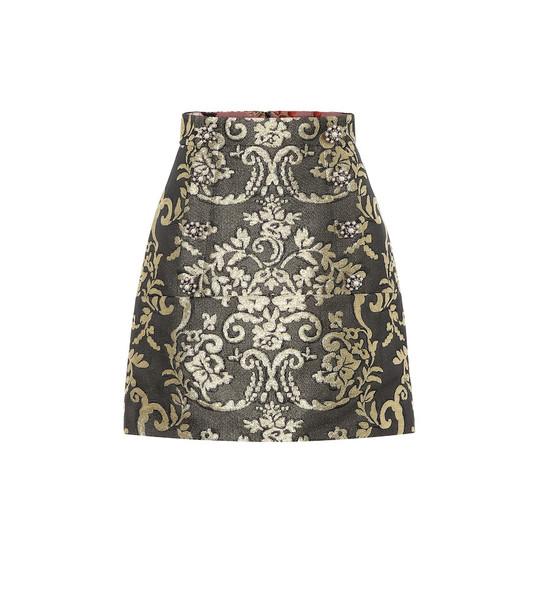Dolce & Gabbana Cotton-blend brocade miniskirt in gold