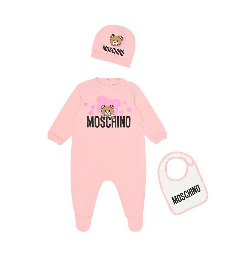 Moschino Kids Baby onesie, bib, and hat set in pink