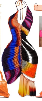 dress,bodycon dress,deep v dress,colorful dress,colorful,strappy heels,summer dress,coachella,ruffle dress