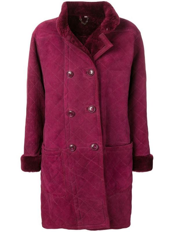 Yves Saint Laurent Pre-Owned 1980's Fourrure coat in purple