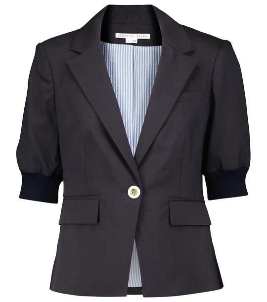 Veronica Beard Margareth linen blend blazer in blue