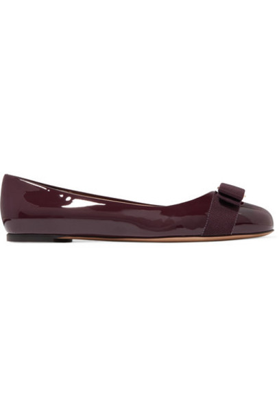 Salvatore Ferragamo - Varina Bow-embellished Patent-leather Ballet Flats - Burgundy