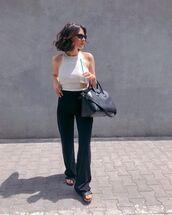 top,white top,halter top,pants,black pants,sunglasses