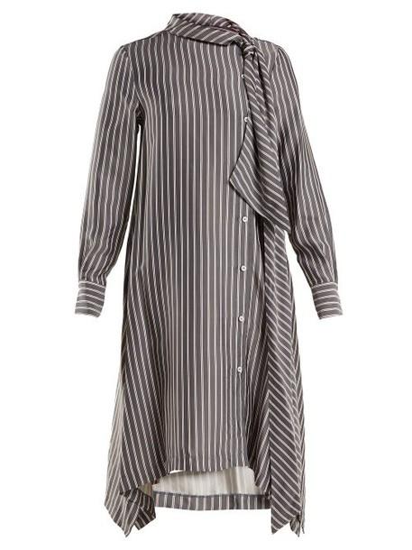 See By Chloé See By Chloé - Striped Asymmetric Crepe Midi Dress - Womens - Navy White