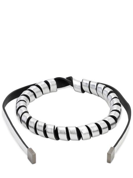 SO-LE STUDIO Leather Torchon Necklace in silver