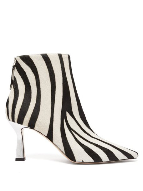 Wandler - Lina Zebra Patterned Calf Hair Ankle Boots - Womens - White Black