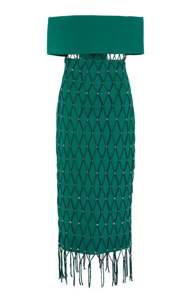Cushnie Off-The-Shoulder Embellished Crepe Midi Dress in green