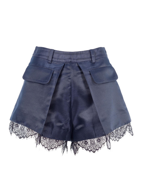 self-portrait Self Portrait Shorts With Lace Trim in navy