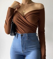 top,brown,off the shoulder,off the shoulder top,fall outfits