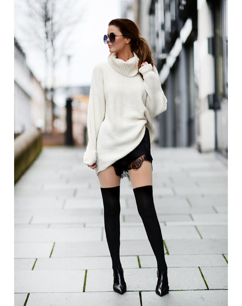 adz2v3-l-610x610-stylista-blogger-sweater-shorts-shoes-sunglasses-knee+high+socks-knitted+sweater-winter+outfits-lace-bag-jacket-tights 10 Must Have Winter Fashion Accessories for Women This Year