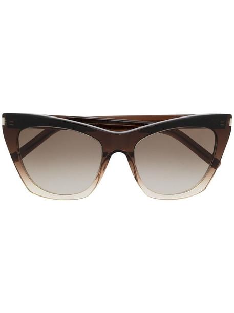 Saint Laurent Eyewear Kate square-frame sunglasses in brown