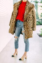 luella & june,blogger,coat,jeans,shoes,winter outfits,red sweater,faux fur coat,slingbacks