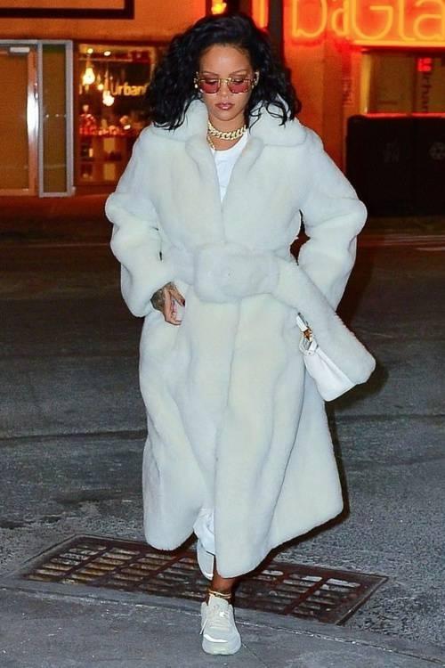 pants white fur fur coat rihanna celebrity