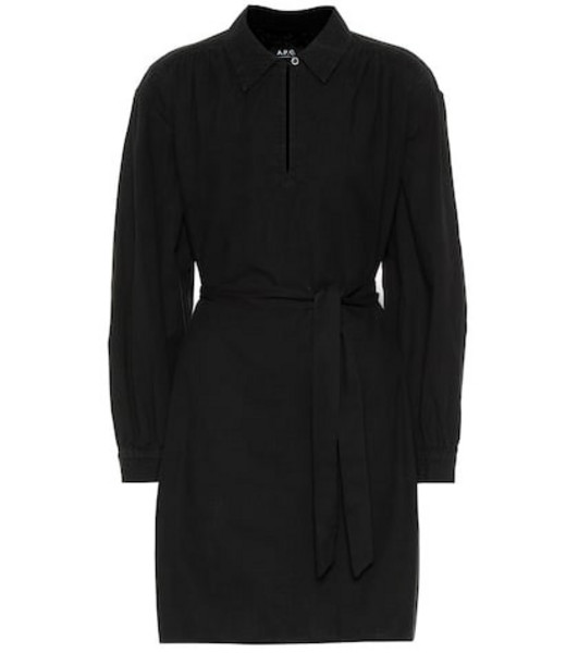 A.P.C. Maria belted cotton shirt dress in black