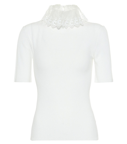 Chloé Organza-trimmed ribbed-knit top in white