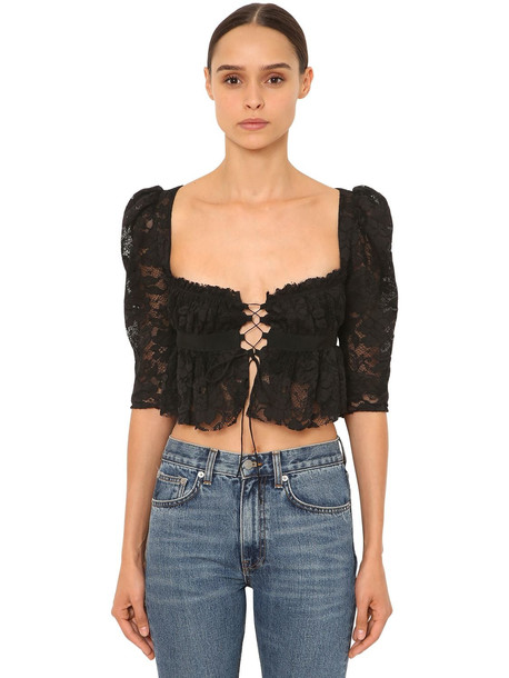 BROCK COLLECTION Ruffled Viscose Lace Crop Top in black