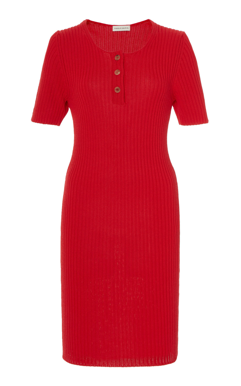 Mansur Gavriel Rib-Knit Cotton-Blend Mini Dress in red