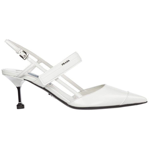 Prada Leather Pumps Court Shoes High Heel in bianco