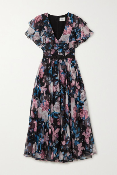 Erdem - Garland Belted Floral-print Silk-chiffon Midi Dress - Black