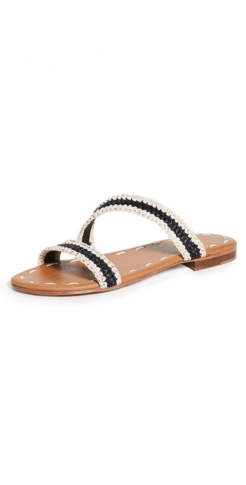 Carrie Forbes Asymmetrical Slides in noir / natural
