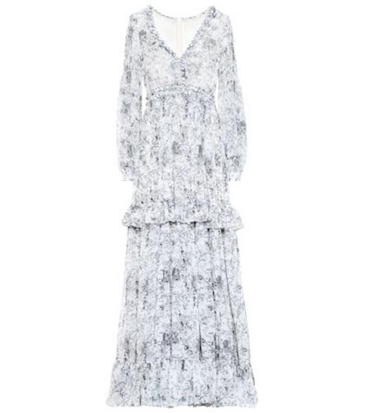 Costarellos Floral chiffon gown in white