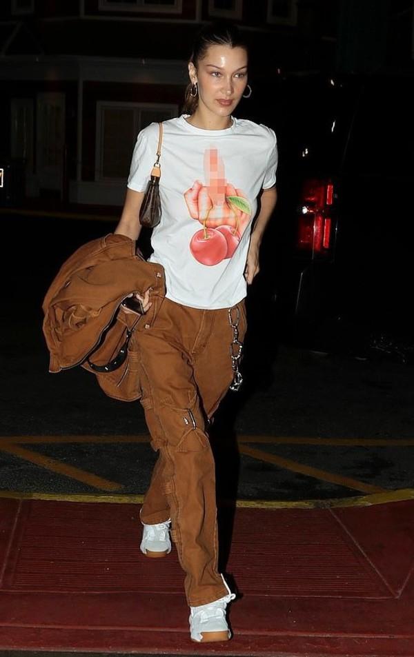 pants bella hadid top jacket sneakers celebrity model off-duty