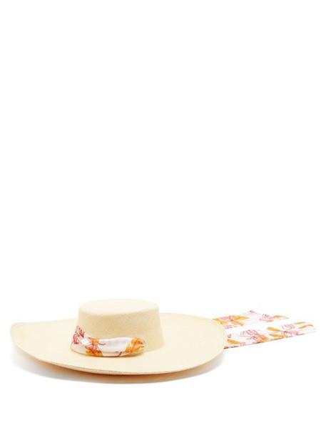 Sensi Studio - Cordovez Satin Tie Straw Hat - Womens - White