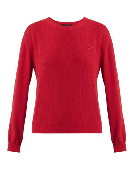 Rochas - Logo Appliqué Cotton Sweater - Womens - Red