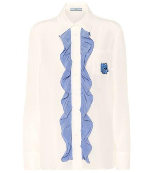 Prada Ruffle-trimmed silk shirt in white