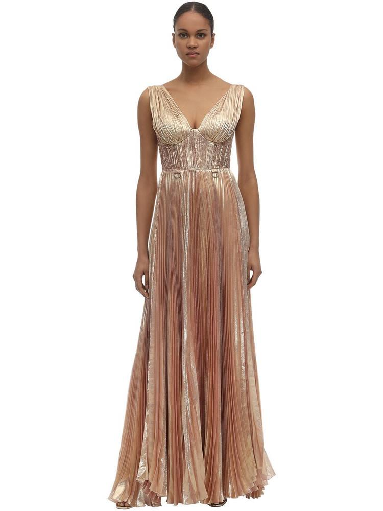 MARIA LUCIA HOHAN Aziza Lurex Chiffon Long Dress in pink