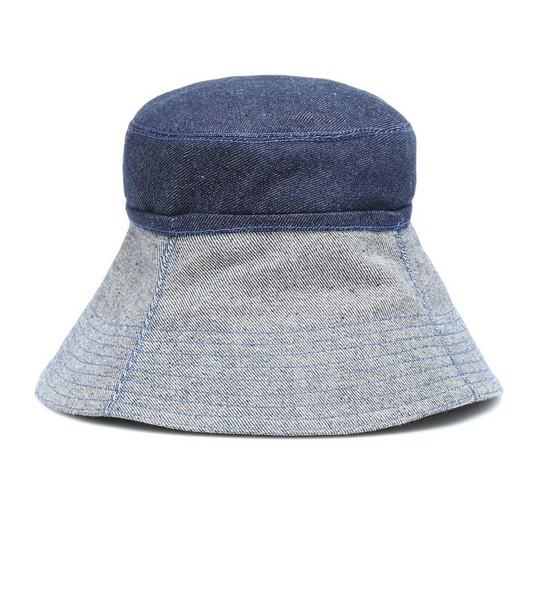 Lola Hats Cuffed denim bucket hat in blue