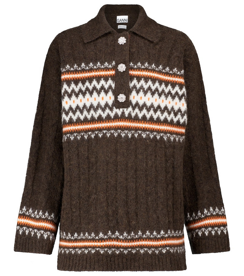 Ganni Cable-knit alpaca-blend sweater in brown