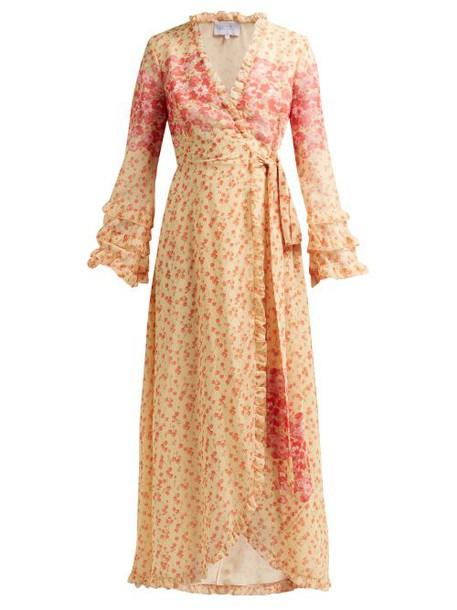 Luisa Beccaria - Floral Print Georgette Wrap Dress - Womens - Yellow Print