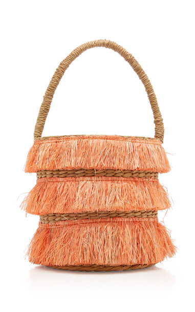KAYU Mini Lolita Fringed Woven Straw Tote in orange
