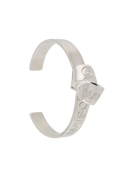MM6 Maison Margiela engraved logo interlock-detail cuff bracelet in silver
