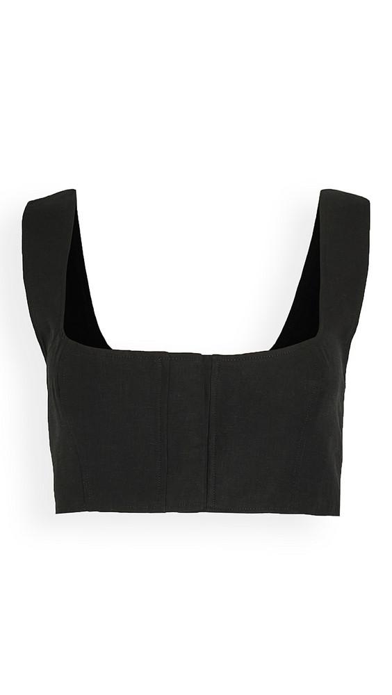 Le Kasha Linen Crop Top in black