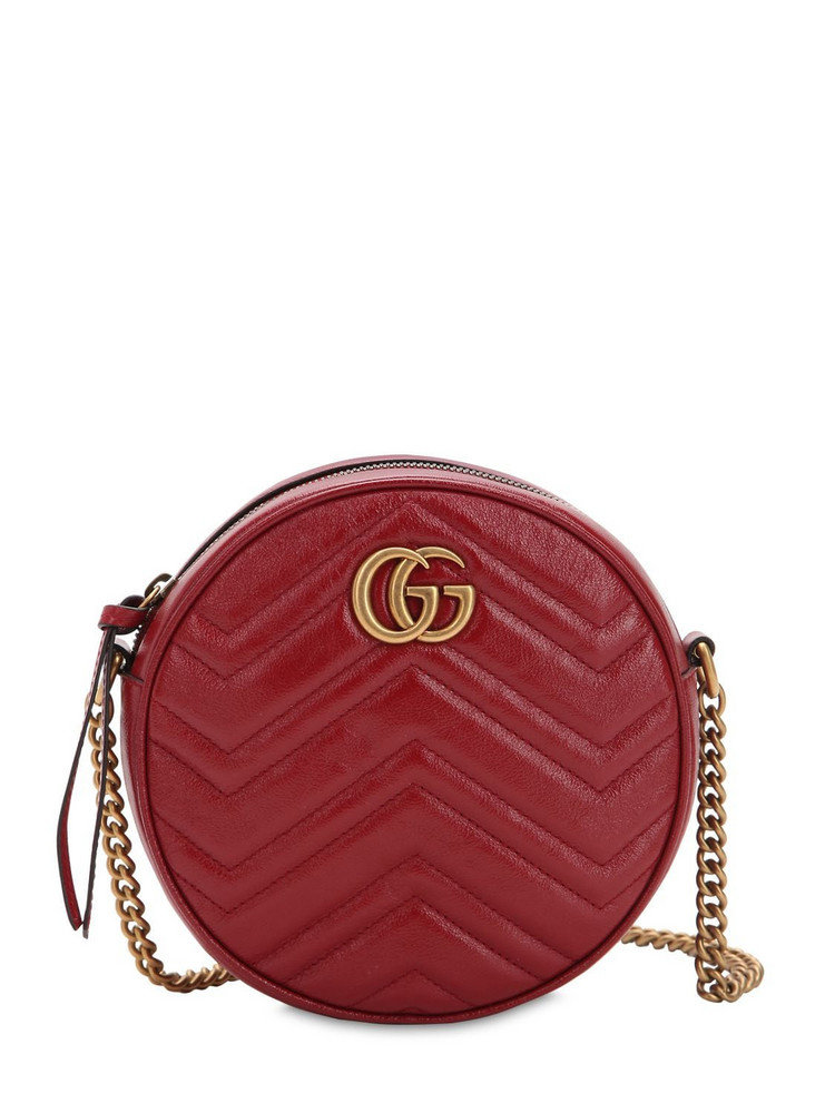 GUCCI Mini Circle Gg Marmont Leather Bag in red