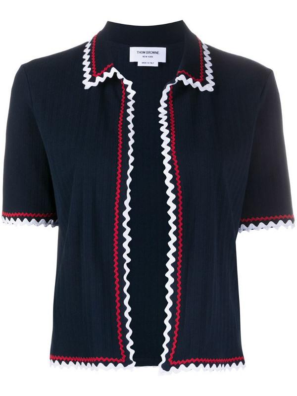 Thom Browne scallop trim fine knit top in blue
