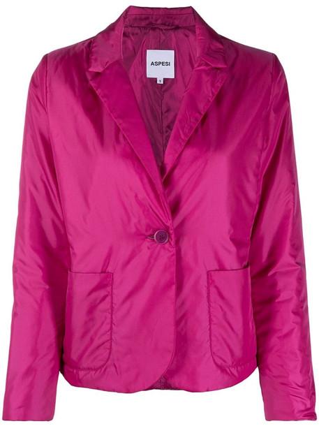 Aspesi nylon button-up blazer in pink